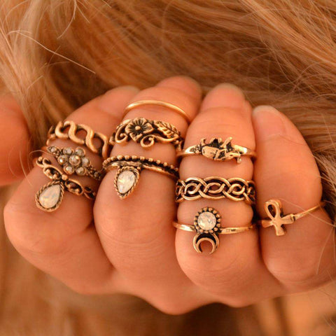 10pcs Statement Ring Set for Women