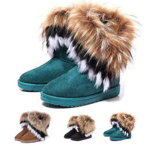 Winter Warm Faux Fox Rabbit Fur Leather High Snow Boots