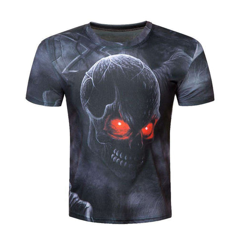 Men's 3D Red O-Neck Cool T Shirt Leisure Short Sleeve