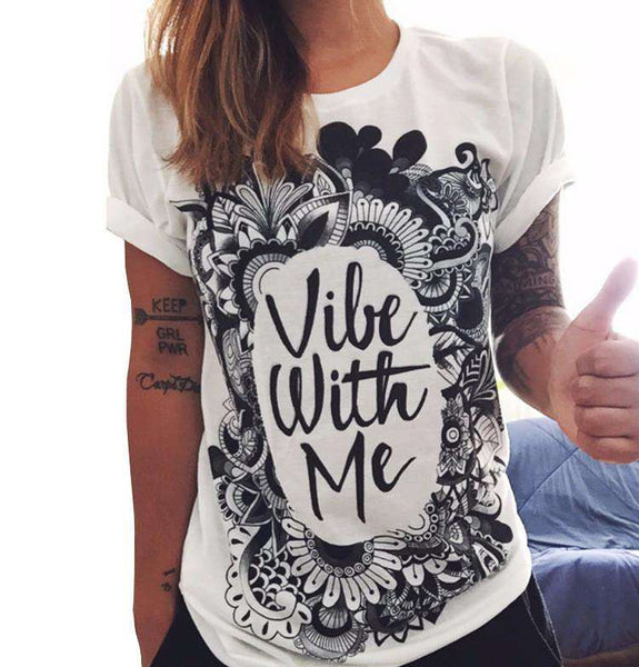 Vibe With Me Letter Print Casual Tee