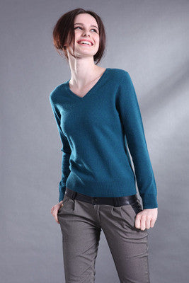 V-neck Candy Color Pullover Tops Knitted