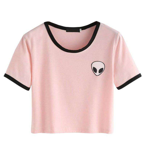 Cute Stripe Short Sleeve Cotton Tshirts Crop Top Tee Alien Embroidery