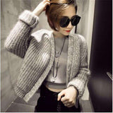 Women Short Style Knited Casual Jacket