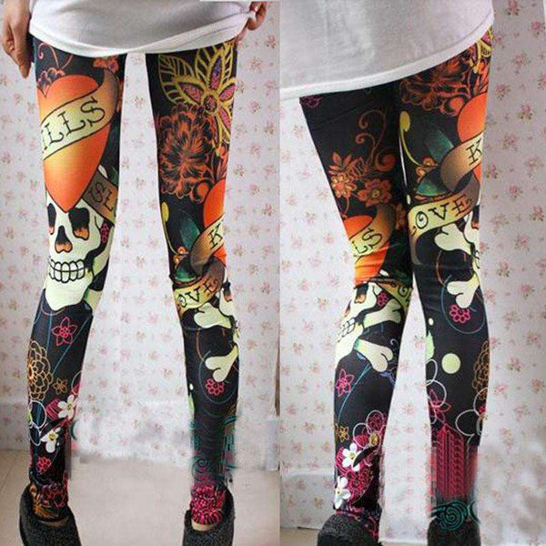 Hot-Selling Fashion Colorful Skull Printed Legging For Women