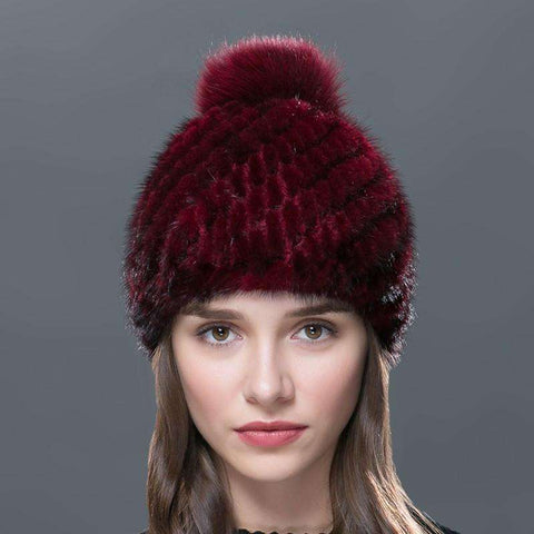 Hat Knitted Winter Hat Mink Hat Fox Fur Pom Poms New