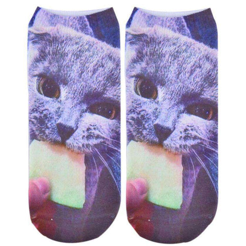 3D Printed Animal Women Casual Socks Cat