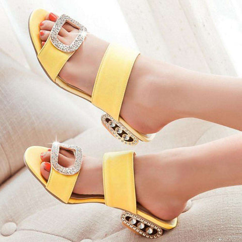 PU Spike Crystal Rhinestone Rubber Sandals