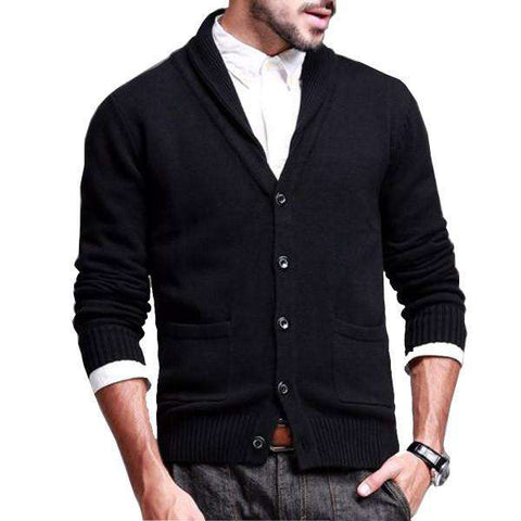 Mens Casual Threadbare Cable Cardigan Shawl Neck