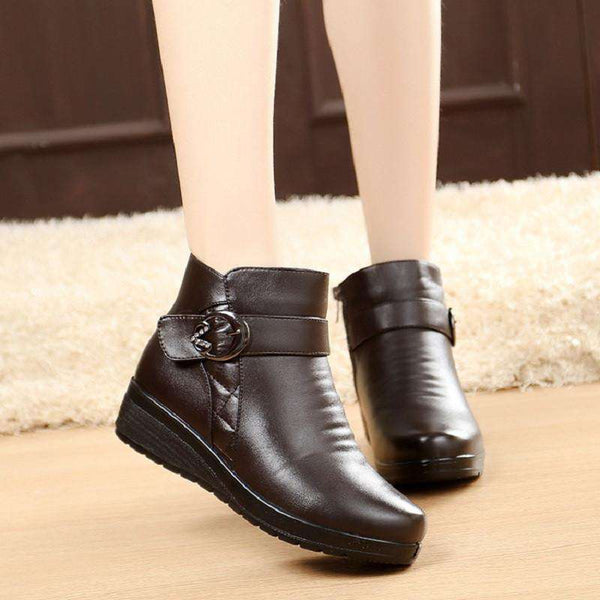 Warm Round Toe Ankle Boots for Elderly