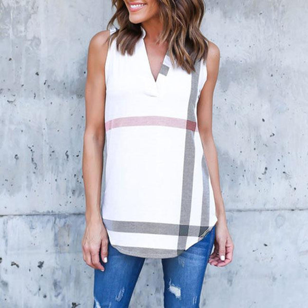 Women T Shirt Tops Sleeveless V Neck Checker