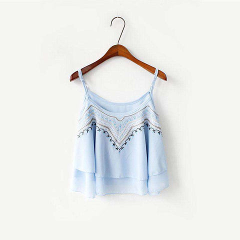 Crop Top Spaghetti Strap Embroidered Casual Sleeveless