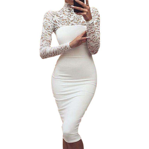 Lace Long Sleeve Back Zipper Knee Length Bodycon Dress