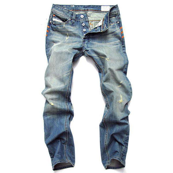 Mens Fashion Hole Design Ripped Jeans Casual Denim Pants Trousers