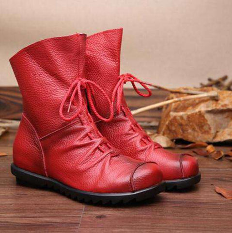 Leather Women Boots Casual