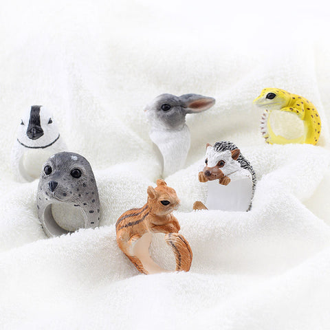 Squirrel Penguin Gecko Seal Open Adjustale Ring Women