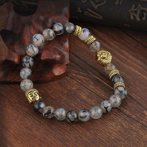Grey Lava Stone Beads Bracelets For Women