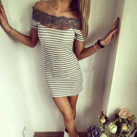Lady Off Shoulder Lace Patchwork Stripe Package Hip Bodycon