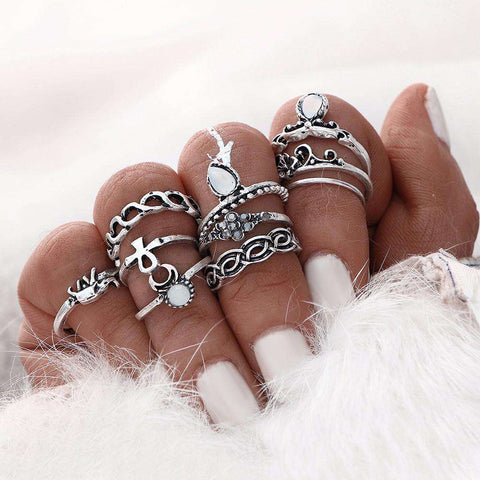 Antique Silver Anillos Crystal Knuckle Rings for Women