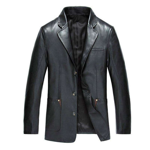 Faux Leather Men Dress Suits Coat Brand Men Leather