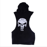 Sleeveless Hoodie Tank Top Cotton Skulls Printing Vest Men