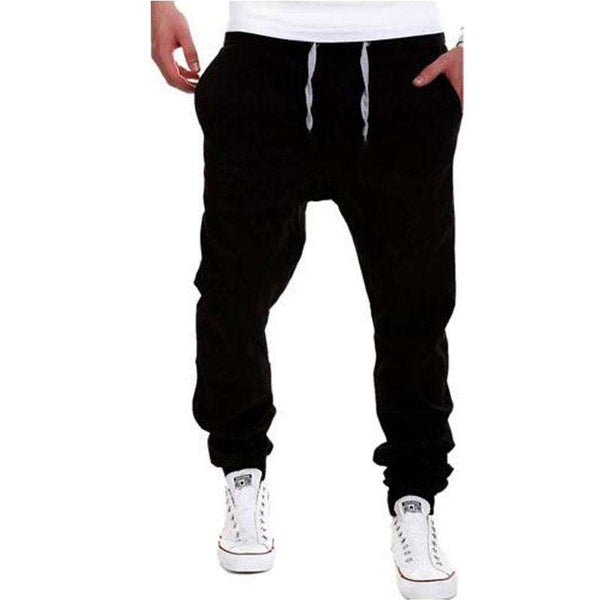 Mens Joggers Brand Cargo Pants Solid Lacing Slim Tights Trousers