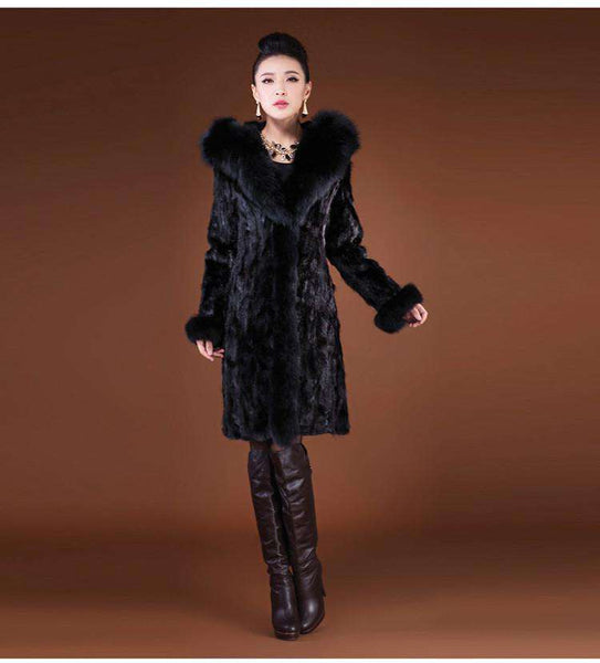 Outerwear Fox Fur Collar With Hooded X-Long Design Women's