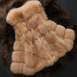 Sleeveless Faux Fox Fur Leather Thick Coat Outerwear Vest