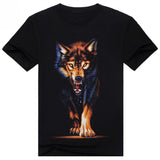 Men Casual Black T Shirt Wolf Print