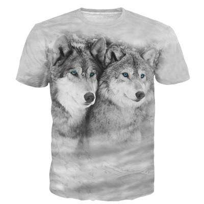 Men Classic Vintage Prints T Shirts Cool Wolves 3D