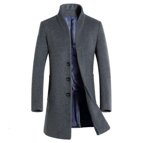 Men Pea Coat Jacket Wool & Blends For Winter