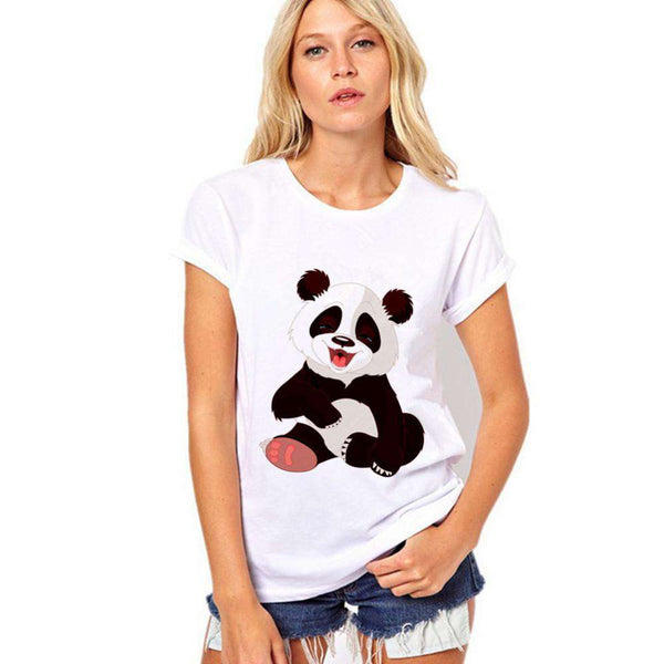 T Shirt Women Cotton Panda Prints Short Sleeve O-Neck White