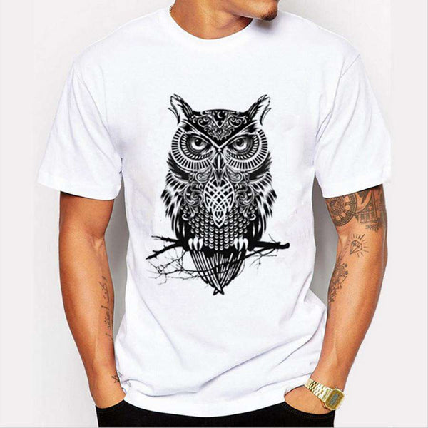 Casual Men T-shirt Owl 3D Prints 21 Colors Short Sleeved Round Neck