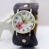 Wristwatch Wide Bracelet with flowers