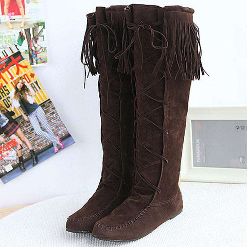Leather Lace Up Women Fringe Flat Heels Long Boots