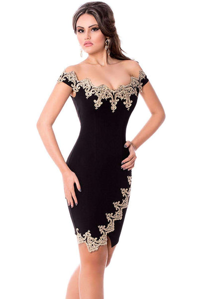 Off Shoulder Vestido De Renda Curto Sexy Party Robes Gold Lace Applique
