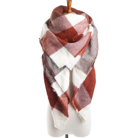 Brand Scarf Square Brown Plaid Artificial Cashmere