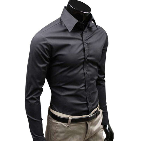 Clothes Slim Fit Men Long Sleeve Shirt Solid color Casual