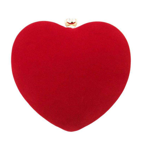 Flannel Red Heart Shape Evening Bag Women Clutch Purse