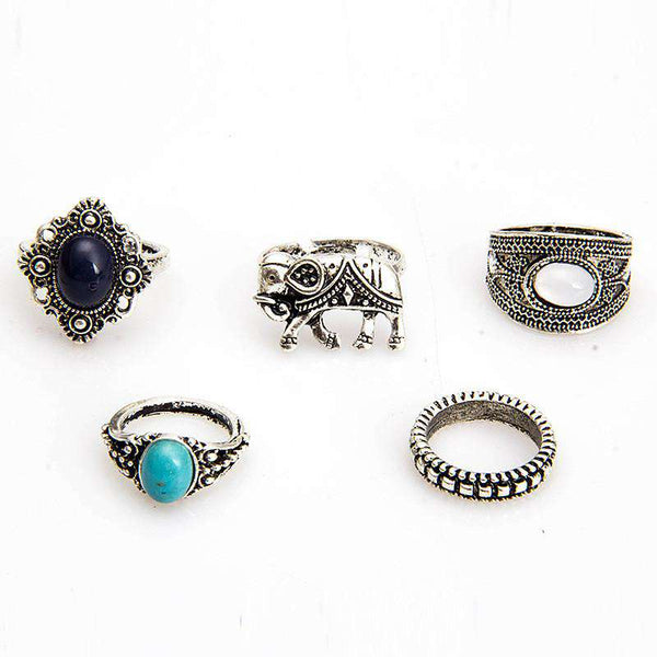 5Pcs Tibetan Silver Rings for Women