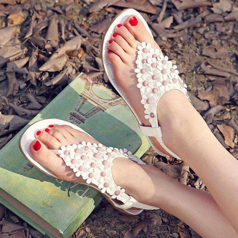 New Summer Leather Flat Women Sandals