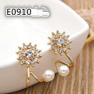 Rhinestone Pearl Snowflake Ear Jacket Earrings For Women