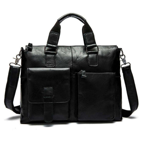 Genuine Leather Men Bag Vintage Oil Wax