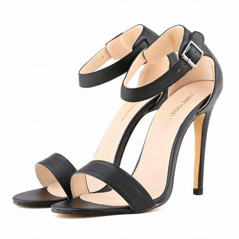 Ankle Strap Peep Toe Thin PU Ankle Strap Heels