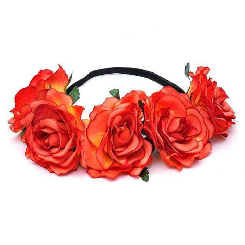 Women Rose Flower Crown Hairband Wedding Flower Headband