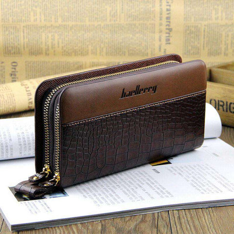 Designer Long Business Man Double Zippers Men's Leather Wallet