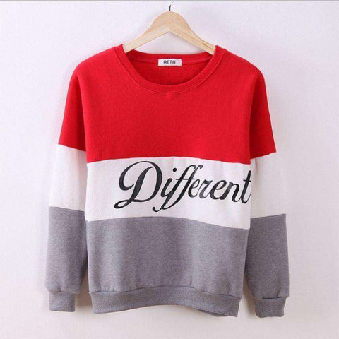 Different Letter Print Knitted Pullover Sweatshirt
