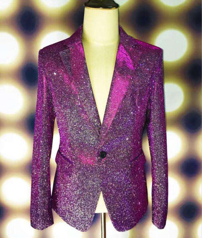 Green Purple Shining Blazer Male Singer GD Outfit Wear Stage Blazers Bar