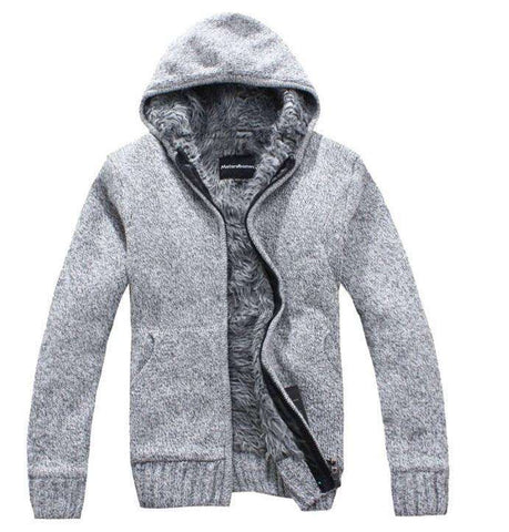 Cotton Hooded Thick White Cardigan Sweater Men Casual