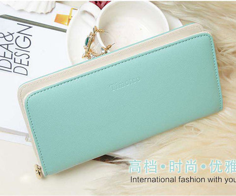 Clutch Handbag Candy Color Long Women