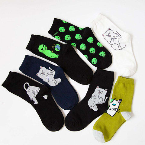 Cotton Casual Socks for Women Cat Alien